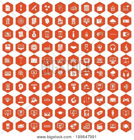 100 website icons set in orange hexagon isolated vector illustration