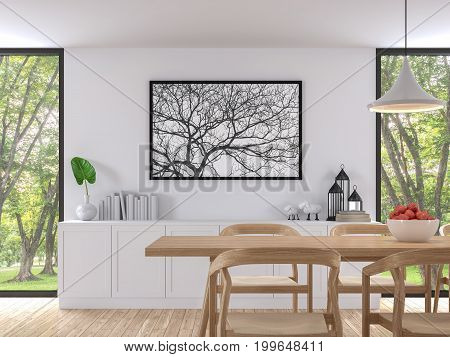 Modern white dining room 3d render image. There are wooden floor .There are large window overlooking to the garden and nature and furnished with wood furniture