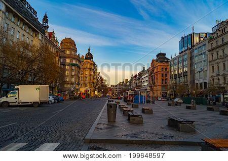 Wenceslas Square in dawn. Vaclavske namesti. Prague street architecture. Views and sights of Czech republic.