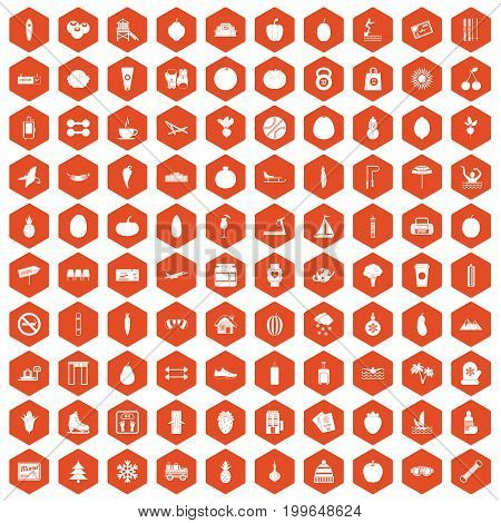 100 wellness icons set in orange hexagon isolated vector illustration