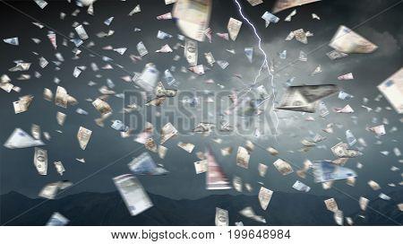 It is raining money. Mixed media