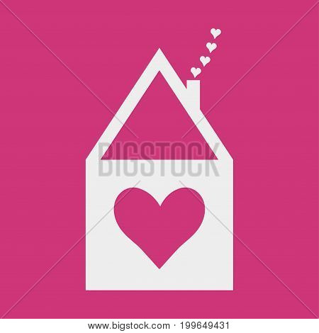 Home Sweet icon or romantic vector label for soulmates. House symbol with a heart symbol. Housewarming sign or a symbol for Home Care company.