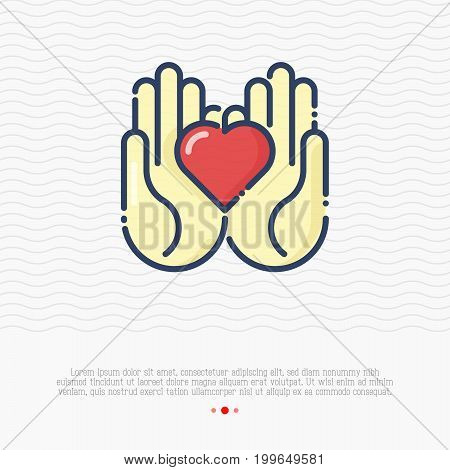 Two hands holding heart thin line icon. Vector illustration for logo of charity, donation organization, symbol of help and love.
