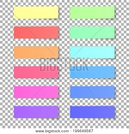 Set of colored sticky notes isolated on transparent background. Vector illustration