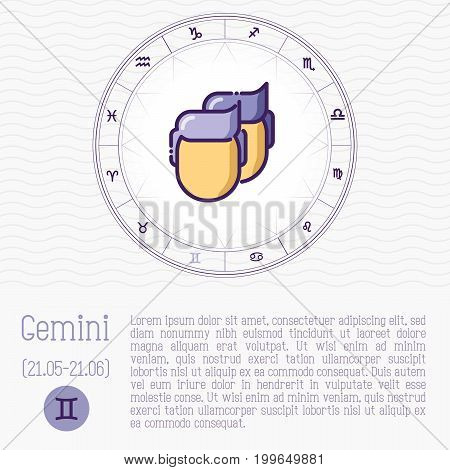 Gemini Zodiac Wheel Vector Photo Free Trial Bigstock