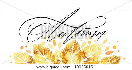 Watercolor painted autumn leaves banner. Fall background design. Vector illustration EPS10
