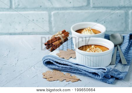 Baked Pumpkin pudding on a stone background