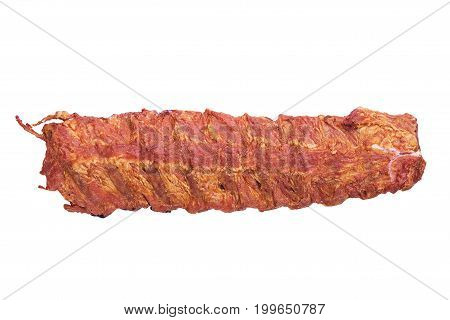 smoked pork ribs isolated on white background not dietary meal