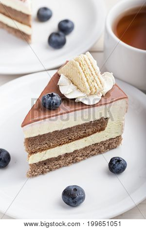 Cheesecake with blueberries in plates and with a cup of tea on a white background
