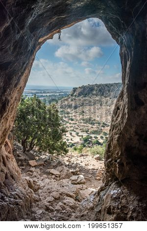 Oren cave and mount Carmel in Israel.