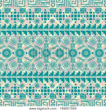Seamless ethnic pattern tribal-vector illustration. The art of the Aztec, Mexican and Peruvian print. Rhombuses squares texture