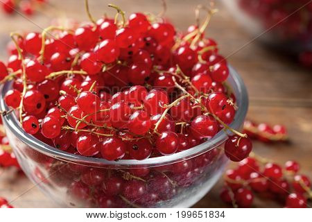 Red currant in a glass plate on a wooden background cooking a healthy dish of red currant close-up
