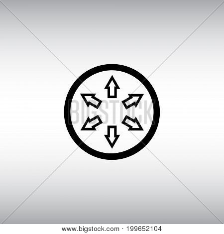 Circle and arrows flat vector icon. Circle and arrows vector sign. Circle and arrows round button.