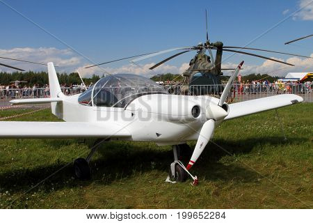 Moscow Region - July 21 2017: White sports aircraft at the International Aviation and Space Salon in Zhukovsky.