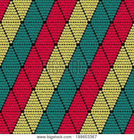 Seamless pattern with tribal rhombuses, are arranged symmetrically in the vertical direction. Vector illustration