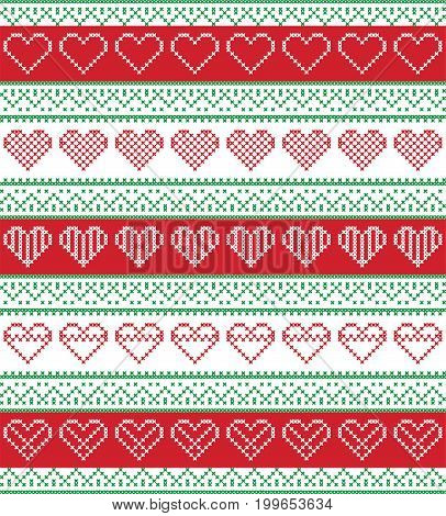 Nordic style and inspired by Scandinavian cross stitch craft seamless Christmas pattern in red and white and green  including  vary hearts elements and  decorative ornaments