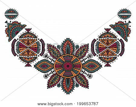 Tribal art boho hand drawn geometric pattern. Beautiful colorful vector ethnic print for fabric, cloth design, t-shirts.