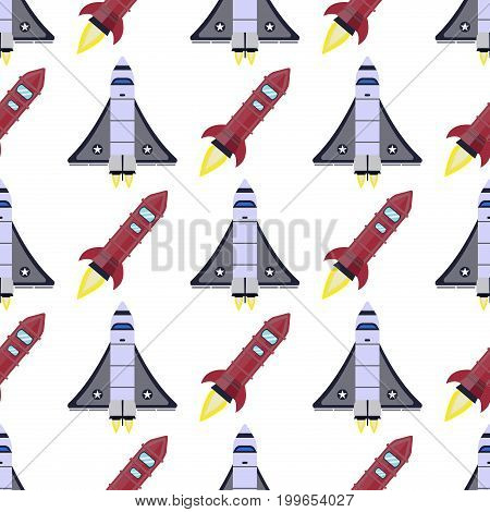 Rocket seamless pattern background vector and space technology ship rocket launch cartoon design vector illustration. Cartoon spacecraft rocket future shuttle fly futuristic galaxy vehicle.