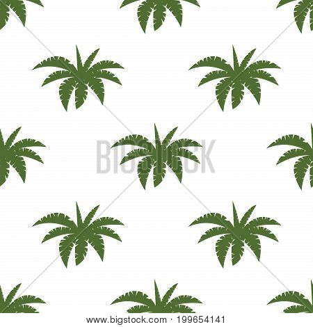 Bright vector green leaf floral seamless pattern background summer palm beach paradise party. Tropical flyer with exotic palm leaves exotic jungle and hawaii tropic green plants.