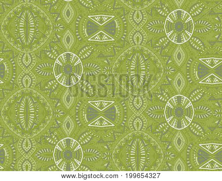 Vector hand drawn ethnic seamless pattern with tribal abstract elements. Endless background in green colors.