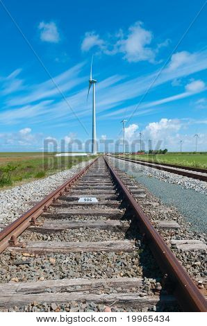 View Of A Railway And Windmills