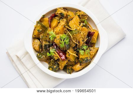 Popular indian main course vegetable Pumpkin dry curry or kaddooor kaddu ki sabzi in hindi, lal bhopla chi bhaji in marathi, selective focus
