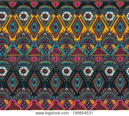 Vector hand drawn ethnic seamless pattern with tribal abstract elements. Colorful endless background