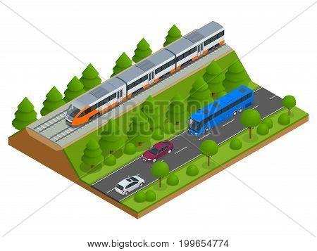 Isometric train tracks and modern train. Railroad icons. Modern high speed red commuter train. Flat 3d isometric vector illustration. For infographics and design games