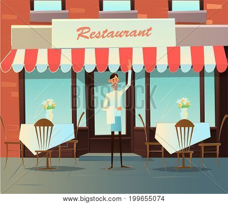 Waiter invites to a cafe.Adult smiling caucasian waiter holding. vector illustration