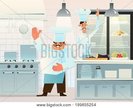Two cooks in the kitchen. gourmet chefs .Vector illustration