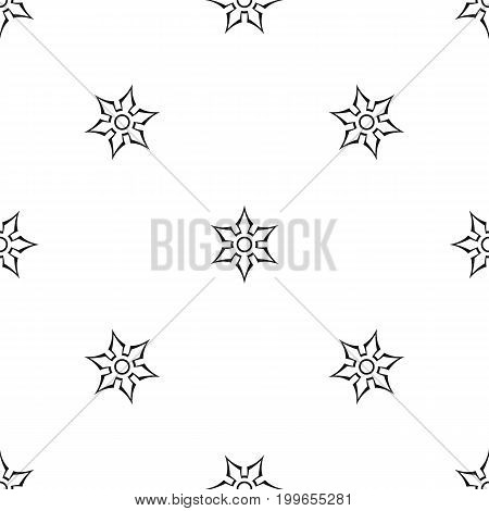 Ninja shuriken star weapon pattern repeat seamless in black color for any design. Vector geometric illustration