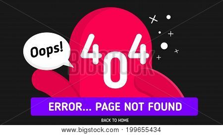 404 error page not found design vector template in black background graphic