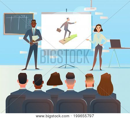 Presentation of the project. The performance of the business analysts. The startup project is growing. Business concept vector illustration