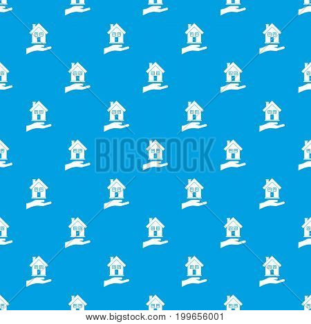 Hand holding house pattern repeat seamless in blue color for any design. Vector geometric illustration