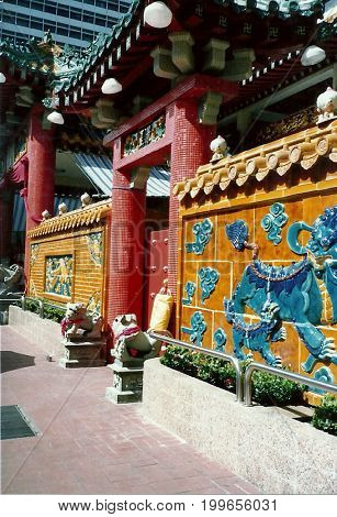 SINGAPORE / CIRCA 1990: The gateway to the Kwan Im Thong Hood Cho Temple.