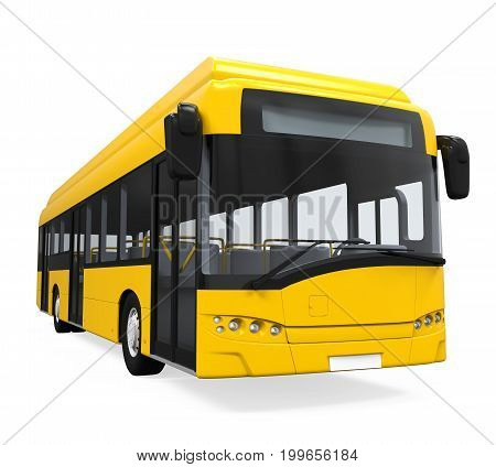 Yellow City Bus isolated on white background. 3D render