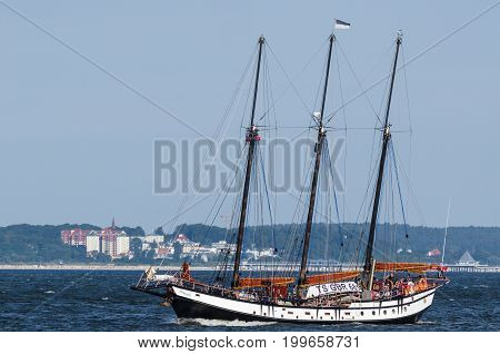 BALTIC SEA / POLAND - 2017: The Tall Shps Races -  The British schooner TRINOVANTE participating in the regatta runs along the Pomeranian Bay