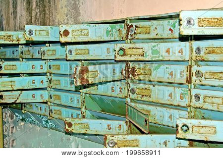 Postboxes in abandoned building in Chernobyl Zone. Chornobyl Disaster