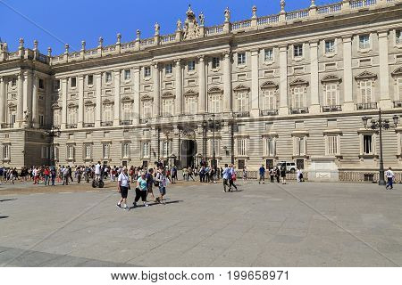 MADRID, SPAIN - MAY 24, 2017: It is the Royal Palace from the side of the Plaza Oriente.