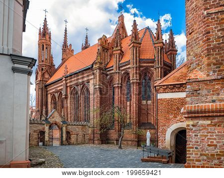 Courtyard Of Ensemble Of St Anne And Bernardine Church. Vilnius, Lithuania.