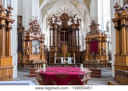 Vilnius, Lithuania - May 08, 2017: Interior Of Church Of St Francis And St Bernard, Vilnius, Lithuan
