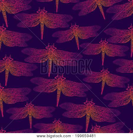 Dragonfly, bright insect, seamless pattern. Gradient orange pink purple outline on a dark purple background.  Vector detail, hand drawn illustration.