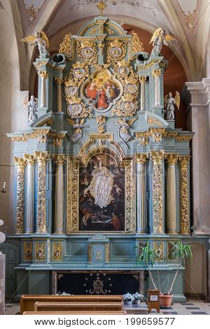 Kaunas, Lithuania - May 12, 2017: Interior Inside Cathedral Basilica Of St Peter And Paul, Kaunas, L