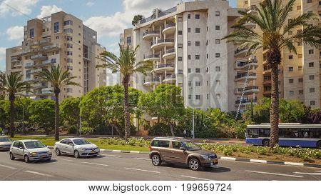 View Of Golda Meir Street In Holon