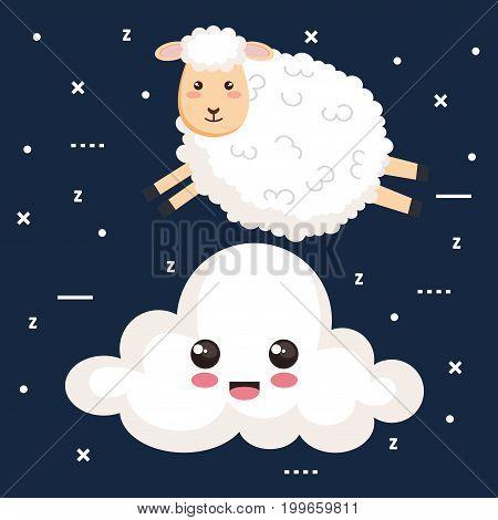 good night sleep cartoon sheep jump cloud animal vector illustration