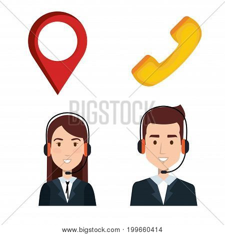 taxi service call center operator set order elements vector illustration