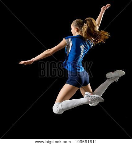 Young woman volleyball player (without ball version)