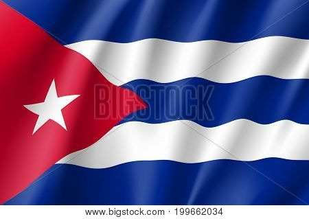 Flag Cuba realistic icon. State insignia of the nation in realistic style on the entire page. Waving state flag. National symbol in the form of a vector illustration