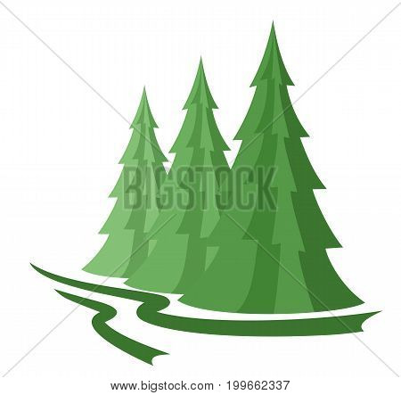 A logo of the green wood with pines.