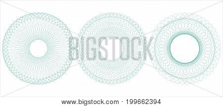 Circular guilloche for certificate diploma voucher money design currency check ticket etc. Vector illustration. Abstract pattern rosette from thin lines.